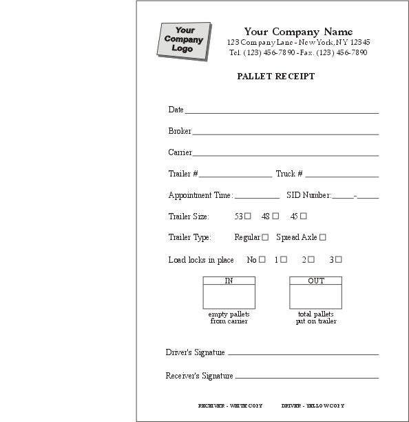 Pallet Delivery Receipt Form, Item #6550