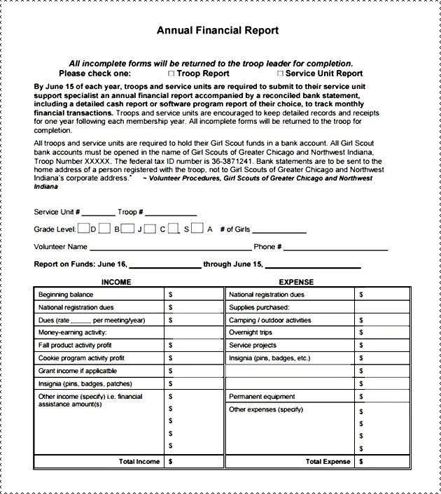 Financial Report Template Word | Template Sample