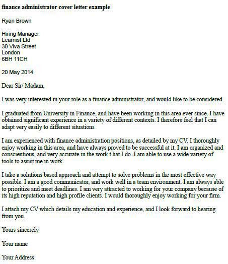 Finance Administrator Cover Letter Example | Misc... | Pinterest ...