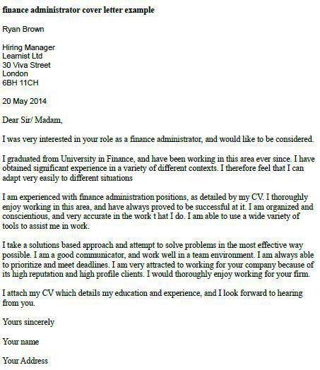 Finance Administrator Cover Letter Example | Misc... | Pinterest .
