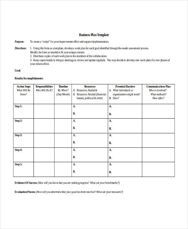 Printable Business Action Plan Template Example with Purpose and ...