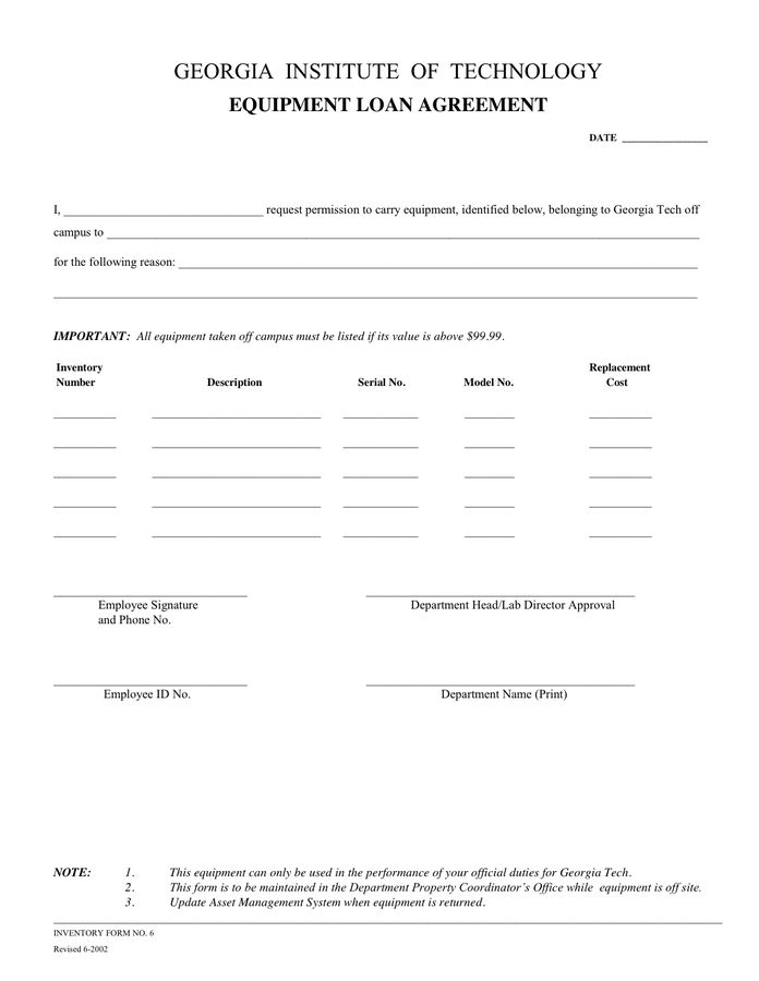 Loan agreement form in Word and Pdf formats