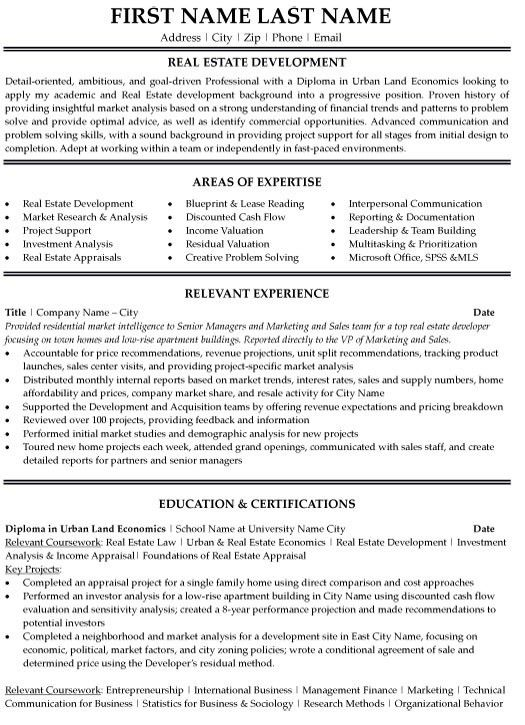 Real Estate Resumes 11 Resume Templates Real Estate Assistant ...
