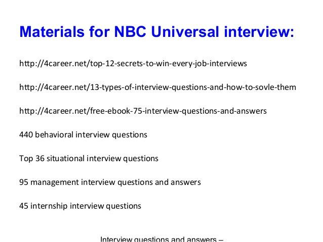 Nbc universal interview questions and answers