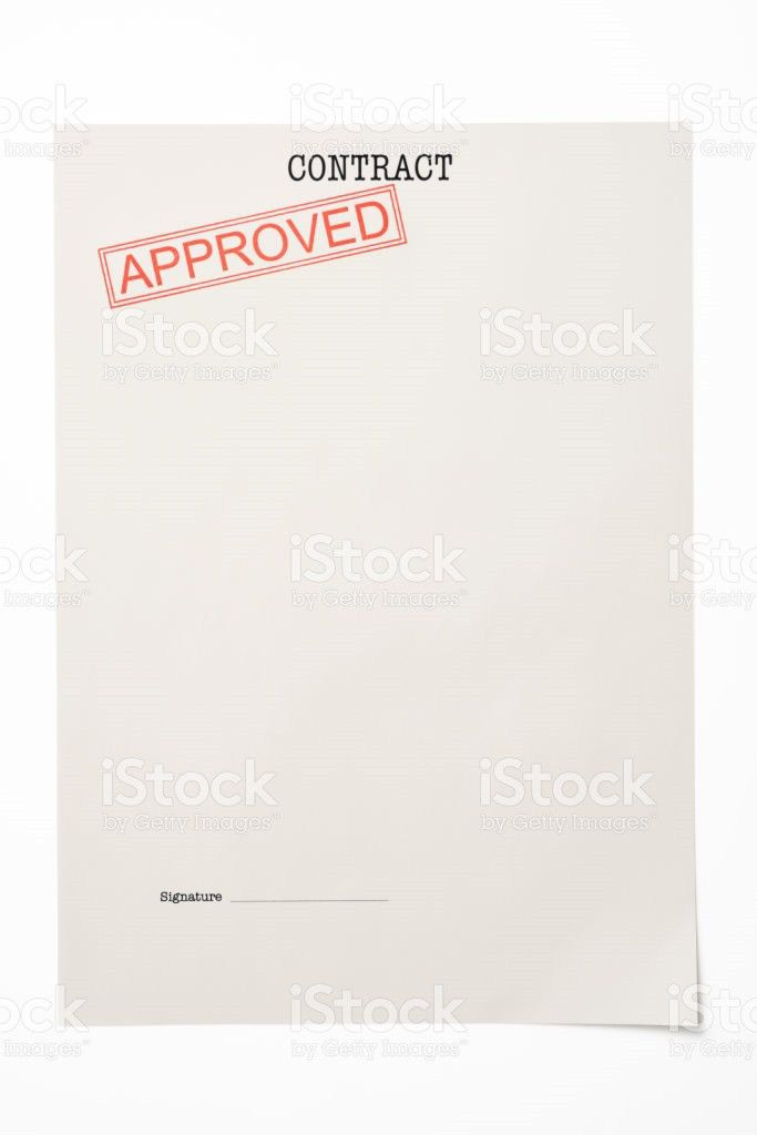 Blank Contract Document With Approved Stamped stock photo ...