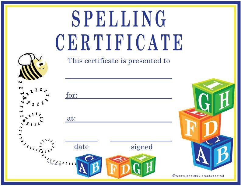 Free Spelling Certificates, Certificate Free Spelling