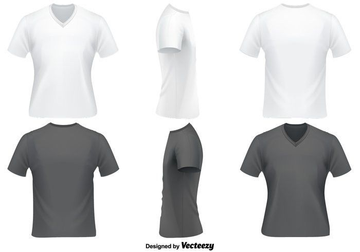 Vector Set Of V Neck T Shirts Template - Download Free Vector Art ...