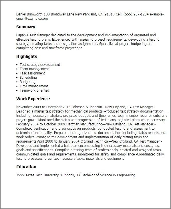 Software Test Lead Resume - Best Resume Example
