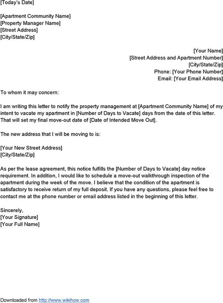 Amazing Sample Letter Of Intent To Vacate Premises | Docoments Ojazlink