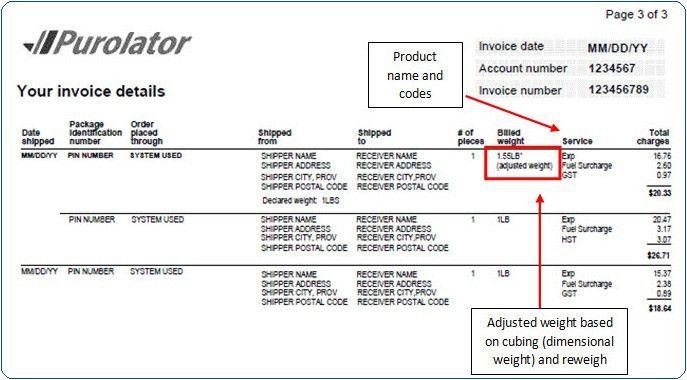 Purolator - Invoice Overview