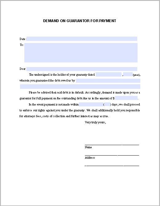 Demand on Guarantor For Payment | Forms | Pinterest