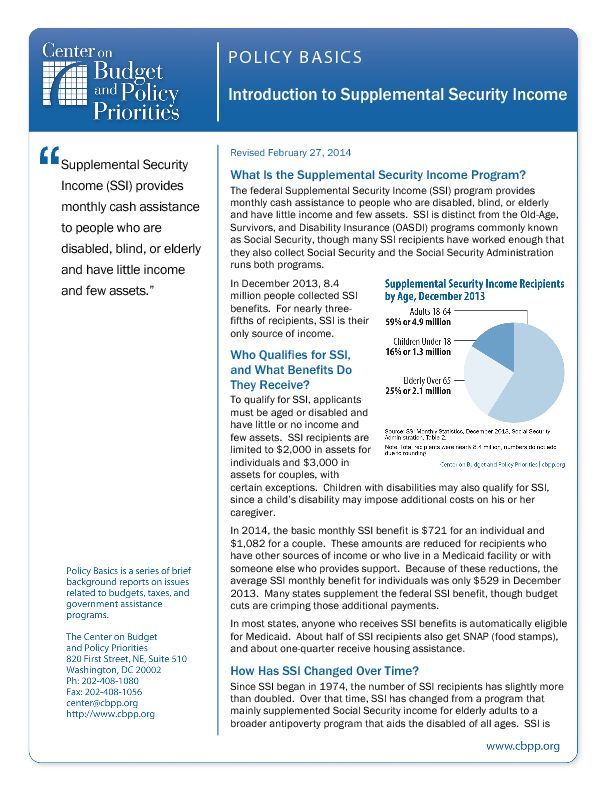 Policy Basics: Introduction to Supplemental Security Income ...
