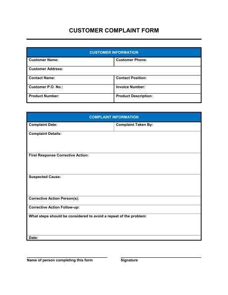 Customer Complaint Form - Template & Sample Form | Biztree.com
