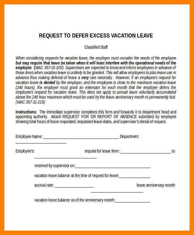 Vacation Request Form. Student Vacation Request Form Request Forms ...