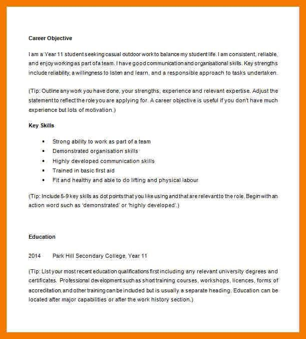 High School Student Resume. Clever Resume Career Objective For ...