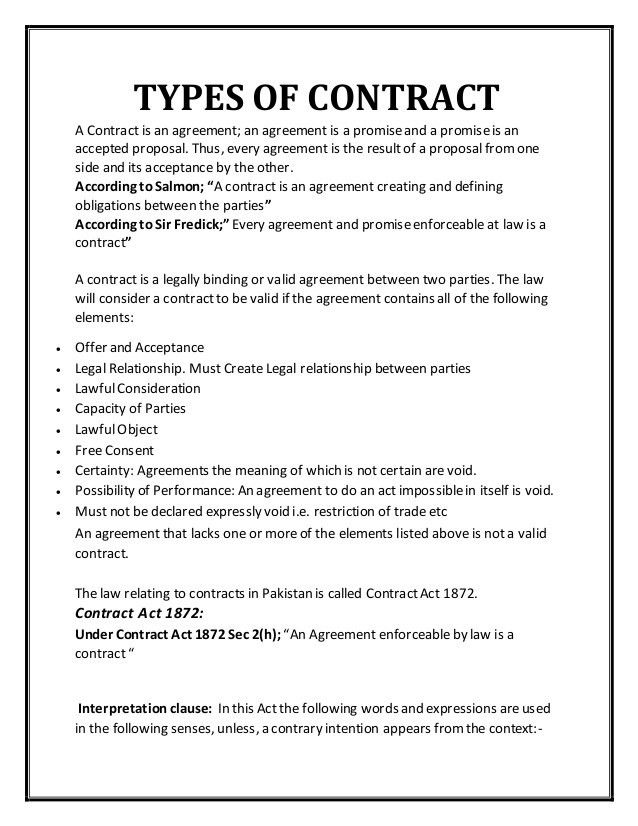 Types of-contract