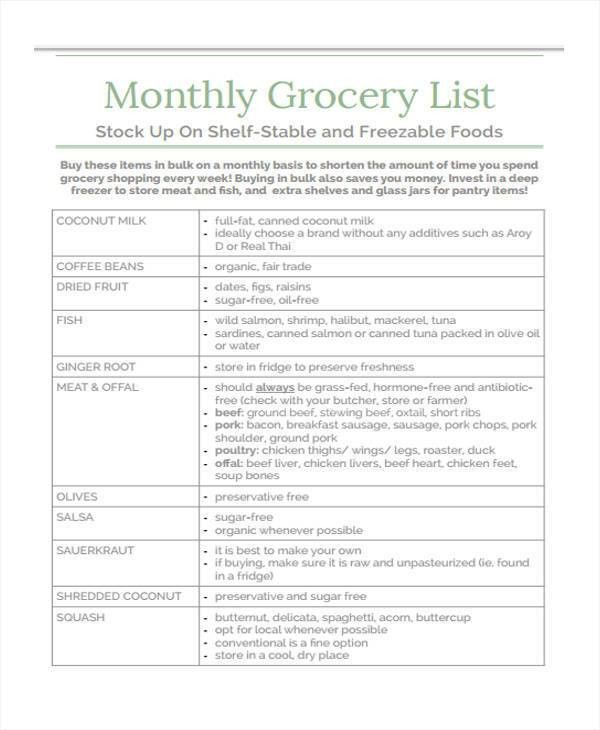 Sample Grocery List Printable Grocery List Template 7 Free Pdf - example grocery list