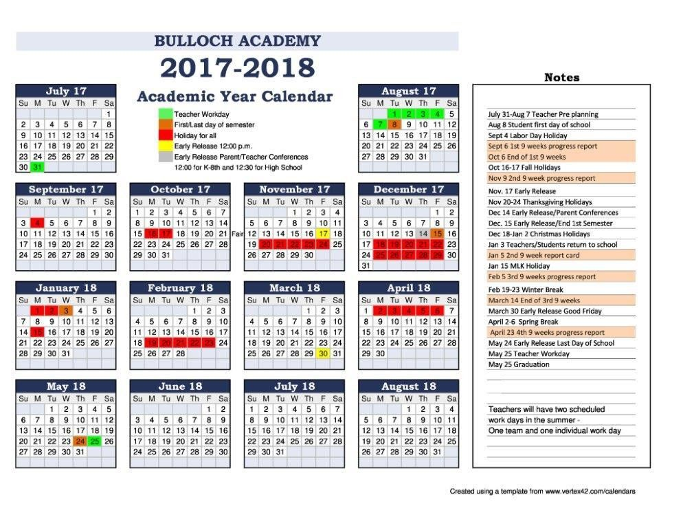 Academic Calendar Template. Sample Academic Calendar 5+ Academic ...