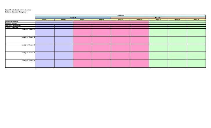 Social media content editorial calendar template