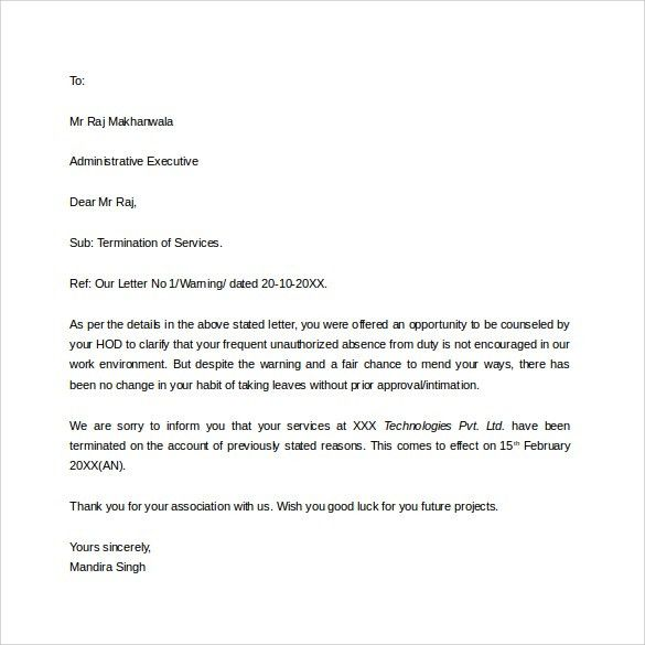 Job Termination Letter - 7+ Download in PDF, Word