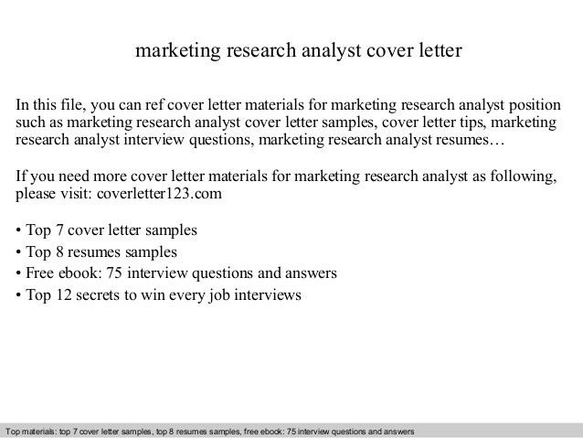 Marketing Analyst Cover Letter Marketing Analyst Cover Letter