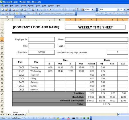 Excel Timesheet Templates Free Download