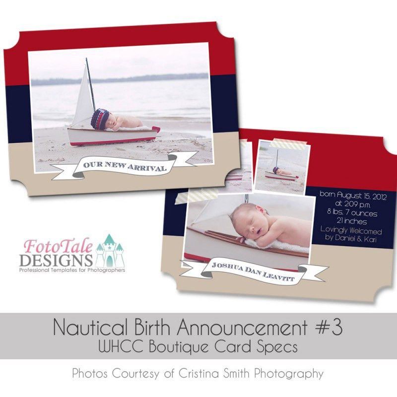 Nautical Baby Announcement- Luxe COLLECTION | FotoTale Designs