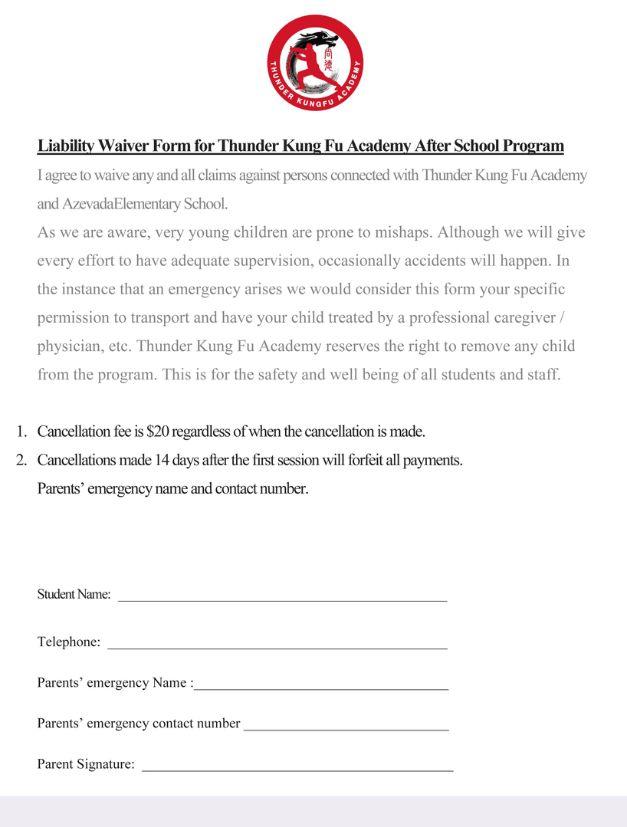 Thunder Kungfu Academy - Liability Waiver Form