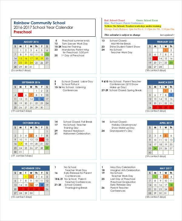 Preschool Calendar Templates - 9+ Free PDF Format Download | Free ...