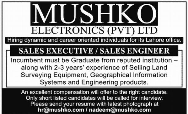 Sales Executive / Engineer Required at MUSHKO ELECTRONICS Lahore