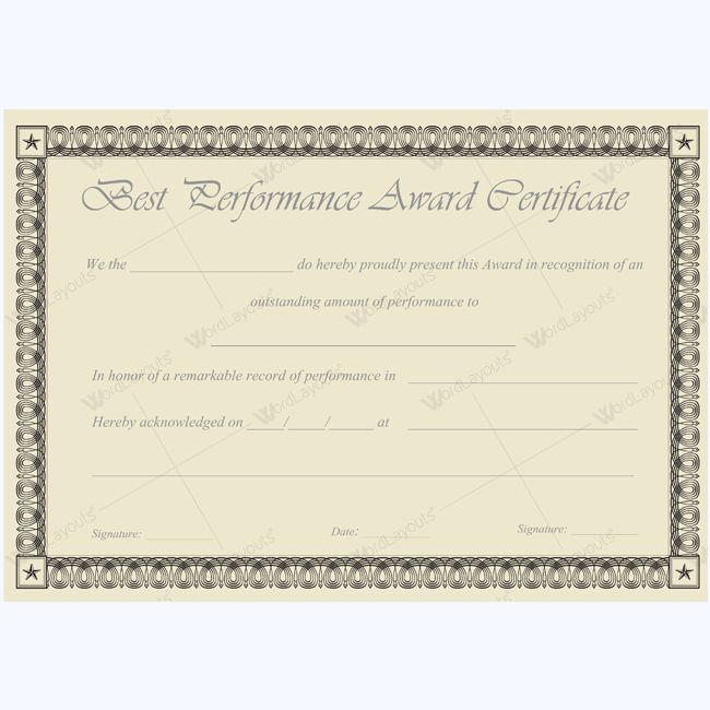 Award paper template awards certificate templates certificate word best performance certificate template bestperformanceaward yadclub Gallery