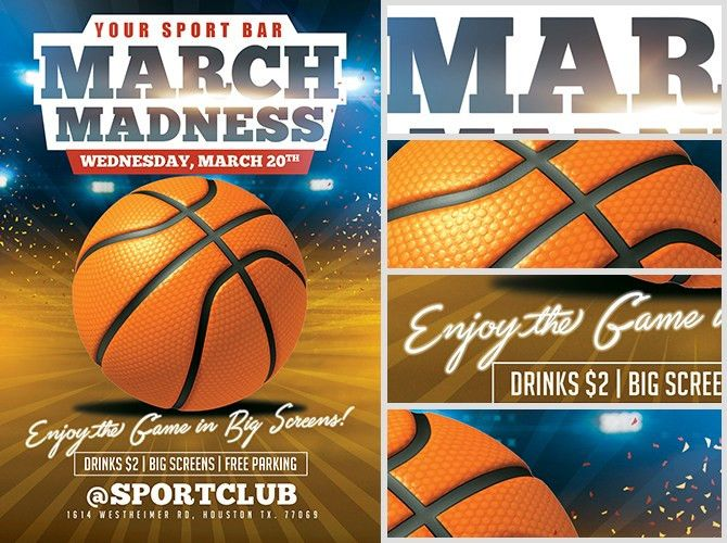 March Madness Basketball Flyer Template - FlyerHeroes