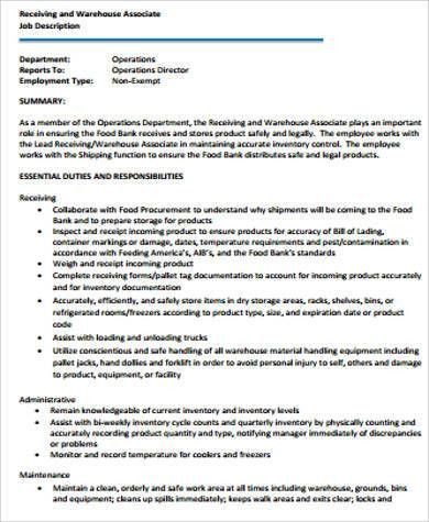 Warehouse Associate Job Description Sample   8+ Examples In Word, PDF