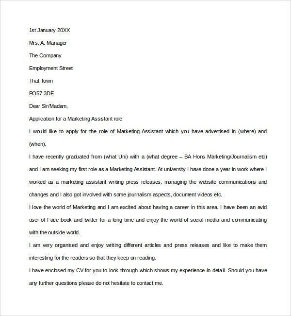 Cover Letter For Marketing Assistant