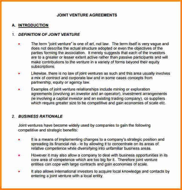 8+ sample joint venture agreement | memo templates