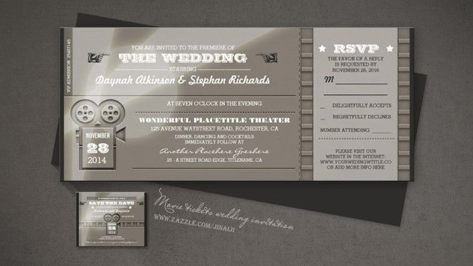 Wedding Invitations That Look Like Theatre Tickets - Wedding ...