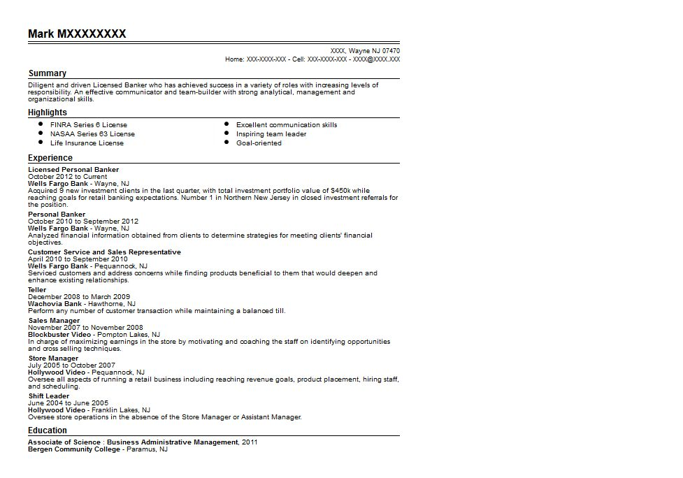 Licensed Personal Banker Resume Sample | Quintessential LiveCareer