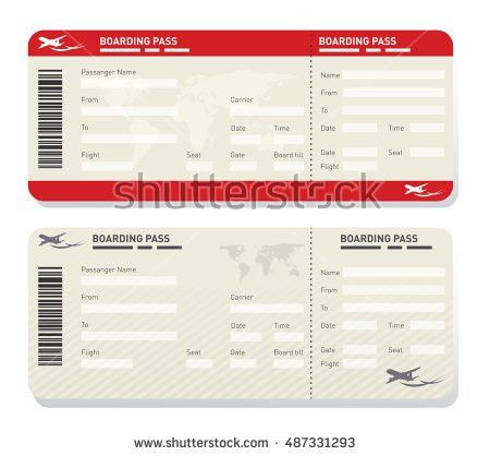 Illustration Two Different Airplane Ticket Template Stock Vector ...