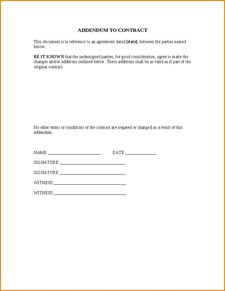 Contract Addendum Template | Template Idea