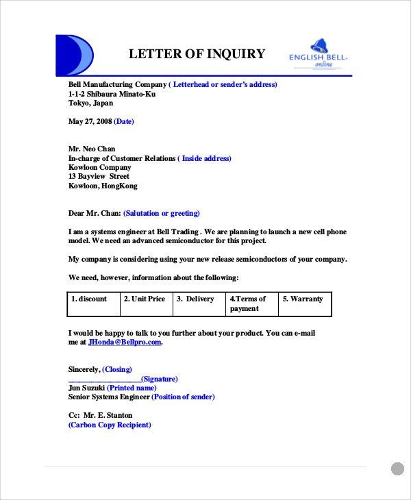 Format Of Letter Of Enquiry Enquiry Letters Formal Letters How – Sample of Letter of Inquiry in Business