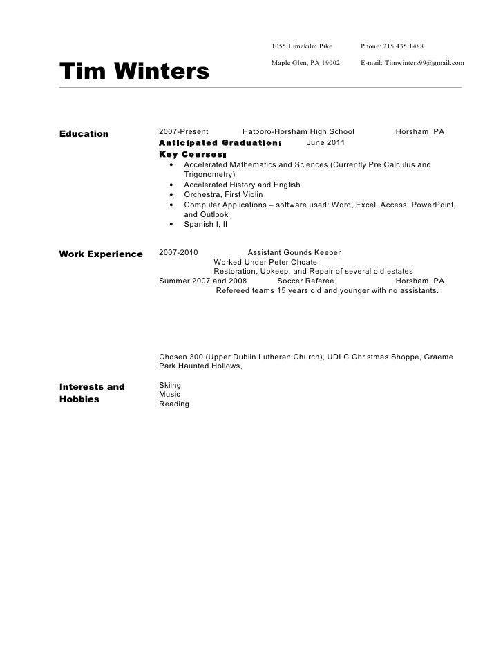Resume sample 310