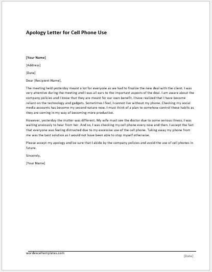 Poor Services Apology Letter MS Word Document Template | Word ...