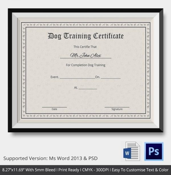Service Dog Certificate Template | Template Idea