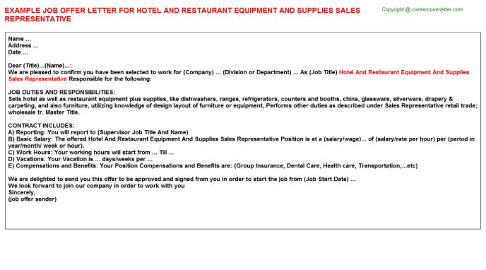 Hotel And Restaurant Equipment And Supplies Sales Representative ...