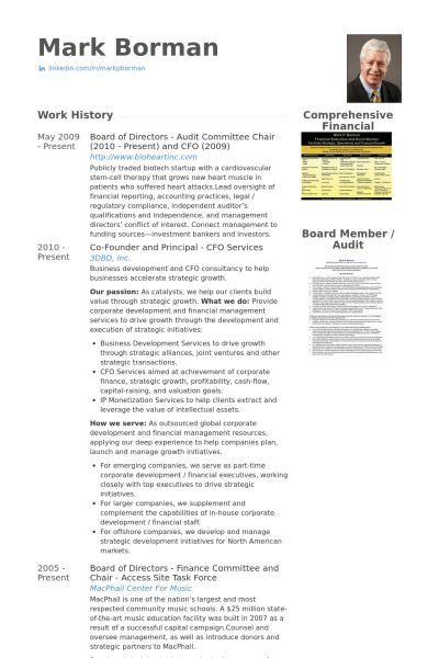 Board Of Directors Resume samples - VisualCV resume samples database