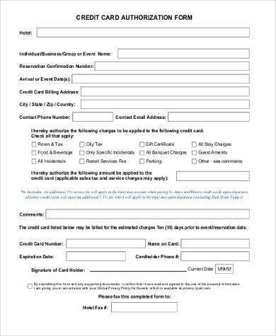 Sample Credit Authorization Forms   9+ Free Documents In Word,PDF