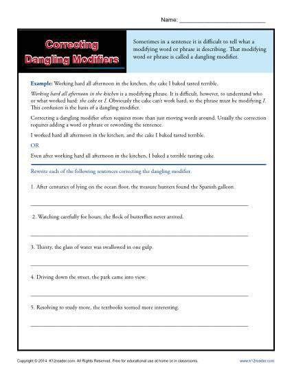 Correcting Dangling Modifiers | Word Usage Worksheet