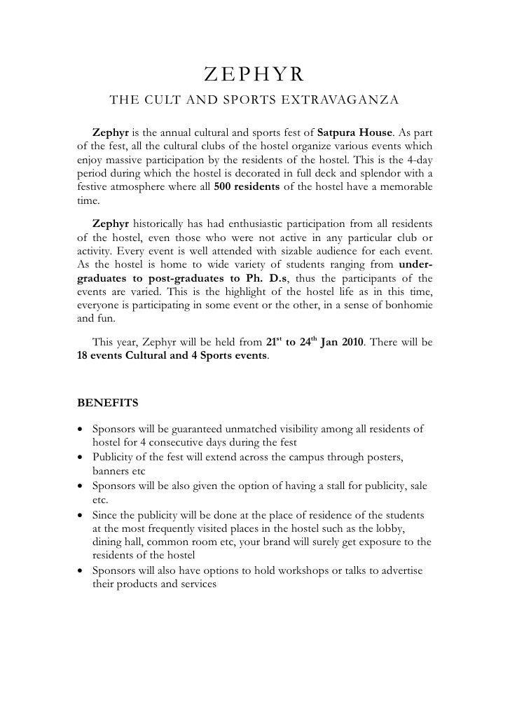 Zephyr'10 Sponsorship Proposal