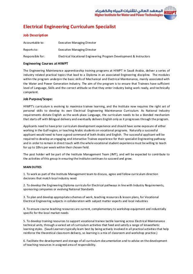 Curriculum Specialist Electrical Engineering Job Description HIWPT