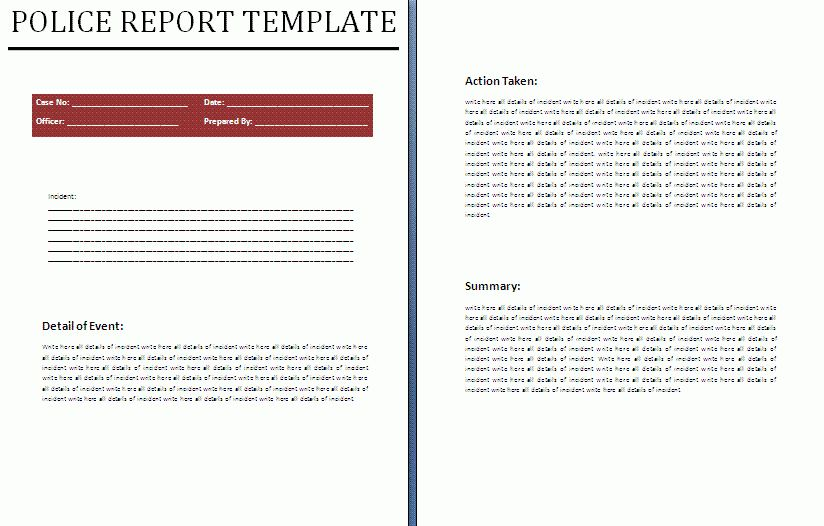 Police Report Template | Download It Free